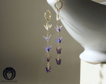 Origami crane earrings with 14K gold on 925 sterling silver leverback ear wire, Shades of purple cranes