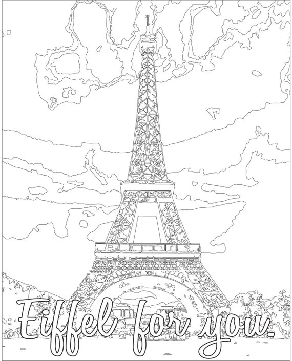 Adult Coloring page Color Therapy Digital Download Eiffel