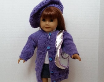 "Crochet Doll Sweater,Hat,Purse,Socks, Shoes set  fits 18"" American Girl Doll"