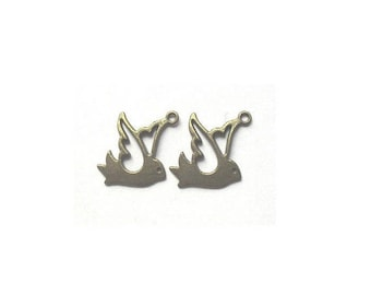 Set of 10 birds in flight (R47) Bronze charms