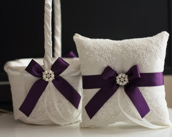 Plum Wedding Basket & Plum Ring Bearer Pillow \ Egg Plant Bearer + Plum Flower Girl Basket \ Ivory Plum Wedding Pillow Basket Set