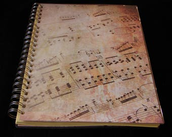 Music Sheet Score Notebook, Music Print Notebook, Music Gift, Laminated Notebook, A4, Personalisation Possible