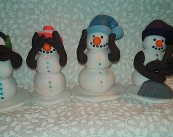 Polymer Clay - Do no Evil, Speak no Evil, See no Evil, Hear no Evil Snowmen with Do No Evil added