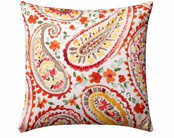 Paisley Pillow Cover, Orange Yellow Coral Red Pillow, P Kaufmann Watercolors, Floral Pillow Cover, Orange Decorative Pillow, Paisley Pillow