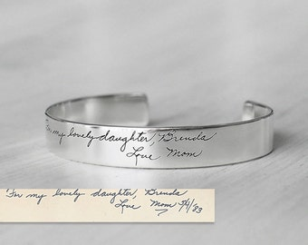 Actual Handwriting Cuff Bracelet For Her - Personalized Signature Bracelet - Silver, Gold, Rose Gold Wedding Jewelry - PB07