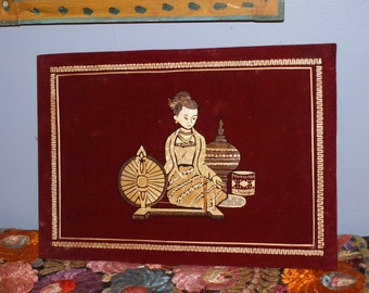 Wonderful Wood Reed Thai depiction of a Woman with Spinning Wheel