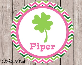 Printable Personalized St. Patrick's Day Tshirt Transfer Design.  St. Patrick's Iron On Transfer.  Personalized iron on. Chevron Clover.