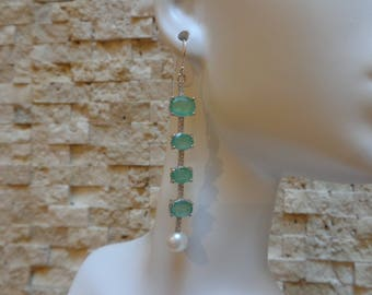 8 Carats Emerald Stick Earring in Sterling Silver with Pave CZ