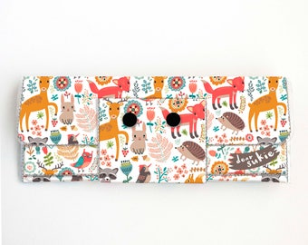 Vinyl Long Wallet - Fall Forest2 / autumn, fox, deer, rabbit, vegan, pretty, large wallet, clutch, card case, vinyl wallet, big, woodland