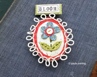 Stitched Paper Mache Brooch Pin Bloom Brooch Book Jewelry Miniature Wall Art Sculpture Flower Brooch Handmade Pin Badge