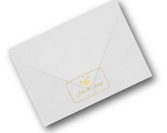 Wedding invitation seals gold or silver on clear labels 65 per sheet personalised custom designed and printed envelope seals invitations