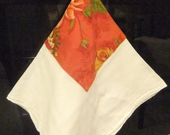 Floral Red Flour Sack Kitchen Towel with Ribbon Hanger