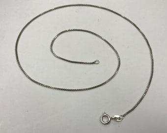 "d432 Vintage Original Sterling Silver Box Chain Necklace 16"" Long"