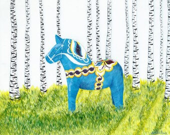 Swedish Dala Horse Print-Wall Art-Dala Horse Giclee Print-Swedish Horse Art-Swedish Art