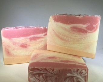 Peach Magnolia Raspberry Soap, Vegan Soap, Cold Process Soap, Handmade Soap