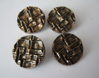 Lot of 4 Vintage Metal Buttons, Textured Design, 27mm