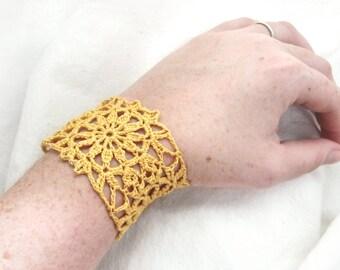 Yellow Lace Cuff Bracelet - Flower Crochet Motif, Egyptian Cotton - Retro Granny Square Hippie Boho Fashion Fall Summe