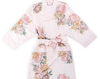 Bridesmaid Robes Set Wedding Day Robes personalized initial Bride Bridesmaid Bridal Party - Custom Name Robes Floral in extended plus sizes