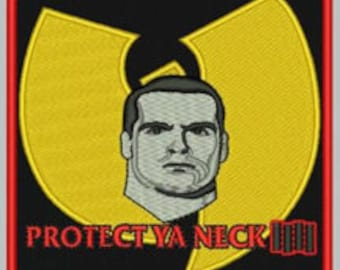 """Rollins/Wu Tang """"protect ya neck"""" patch (red border)"""