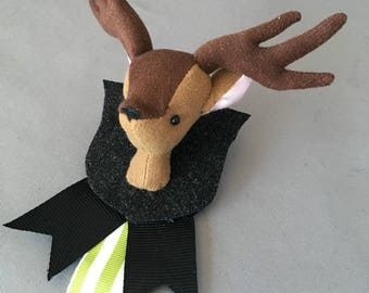 Deer Pin boutonniere Groomsmen Vegan Taxidermy Pin, soft sculpture,plush forest animal accessory, brooch, best man bridal wedding groom fawn