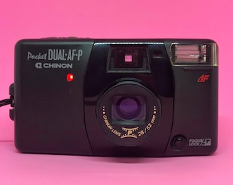 Chinon Pocket Dual-AF-P *Fully Working*  f/3.9 28mm Lens & f/6.3 52mm Lens, Autofocus Point and Shoot 35mm Zoom Panoramic Film Camera Lomo