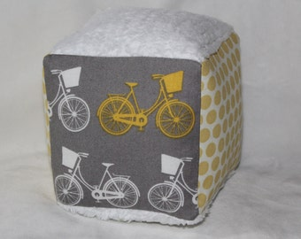 Gray Bicycles Fabric Block Rattle Toy