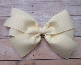 5 inch ivory hair bow - 5 inch off white bow, 5 inch bow, large ivory bow, large hair bows, toddler bows, girls hair bows, girls bows, bows
