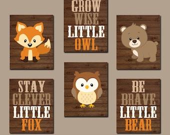 WOODLAND Nursery Art, Woodland Nursery Decor, Woodland Baby Shower, Fox Bear Owl Quotes, Wood Forest Animals, Canvas or Prints Set of 6