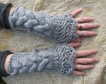 Handknitted grey chunky fingerless mittens