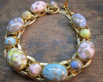 Vintage Double Chain Link Bracelet with Oval and Round Peking Glass Cabochons