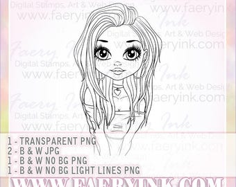 Heart of the 90s Bella Girl Line Art UNCOLORED Digital Stamp Coloring Page PNG JPG