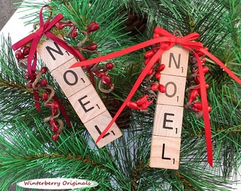NOEL Christmas Ornament - Scrabble Ornament - stocking stuffer, package tie-on, co-worker gift - Your choice of red or burgundy berries/bow