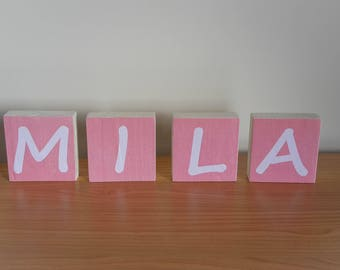 Name of your baby on wooden blocks