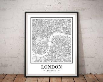 London City Map Print London Map Poster DIGITAL PRINTS London England Map Of London Map Print London Printable Wall Art Travel Gift UK