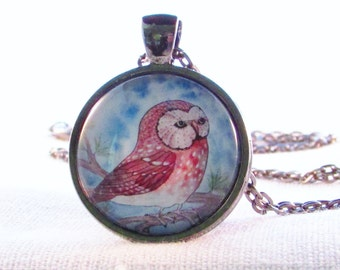 Necklace - Brown Spotted Owl - Wearable Art - Woodland - Forest Pendant - Birthday Gift - Gift for Her - Teacher Gift - Owl Necklace