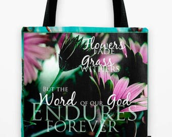 """Roomy Tote Bag - 18""""x18"""" x LOVE ENDURES scripture art - Floral photo with scripture overlay, all-purpose tote"""