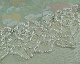 "2yds Stretch Lace Ivory leaf Trim Elastic Lace Ribbon 2"" wide diy Wedding bridal Baby Headbands, lingerie Edging"