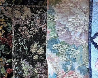 Tapestry and brocade remnants for crafts projects.