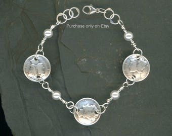 80th Birthday Gift for Women 1938 Dime Coin Pearl Bracelet Jewelry Gift for Mother