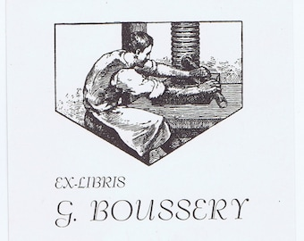 Antique Vintage Printer Printing Press Boussery Ex Libris Bookplate Library Paper Ephemera Graphic Design