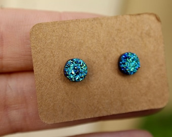 Tiny Blue Titanium Druzy Stud Earrings- Druzy Studs- 6mm Druzy