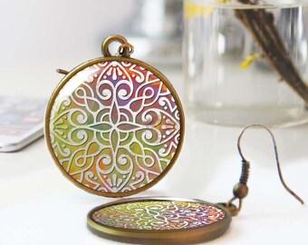 Abstract geometric earrings, Moroccan Tile earrings, Bohemian earrings, Ethnic earrings, Boho jewelry, Wearable art, Personalized, 5118-7