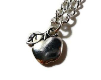 Silver Apple Necklace, Fruit Necklace, Charm Necklace,Metal Chain Necklace, Pendant Necklace, Gift for Teacher, Women's Jewelry, Gift Idea