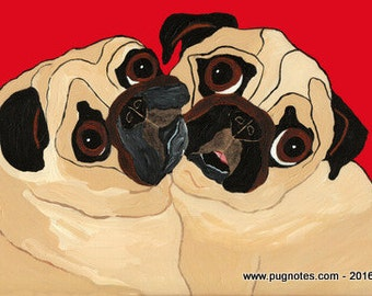 Pug Note Cards -  Lean On Me ~ 2 Fawn Pugs