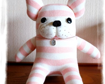 NEW! sockfrenchie pink and white stripes