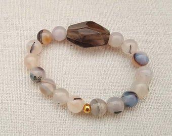 Natural 10.5 mm Round Lace Agate Smoky Quartz Semi Precious Stone Bracelet Gemstones Beads Bracelet, Handmade Jewellery