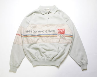 vintage 1988 OLYMPIC GAMES official polo sweatshirt SIZE M made in Italy rare collection Coca Cola