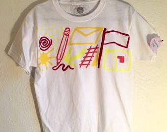 Hand Painted Youth M T Shirt 〰 One of a Kind Painted Kids Clothing 〰 Created by Sam Pletcher