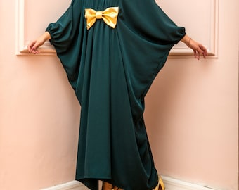 Green Maxi dress/ Plus size dress/ Long sleeve dress/ Evening dress/ Homecoming dress/ Long dress/ Kaftan/ Occasion dress/ Party dress