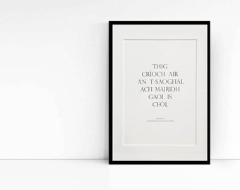 Letterpress Wall Art - Gaelic Art Print - Scottish Gaelic Proverb